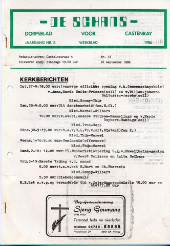 Castenrays dorpsblad De Schans 1986-09-26