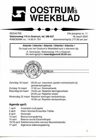 Oostrum's Weekblad 2000-03-16