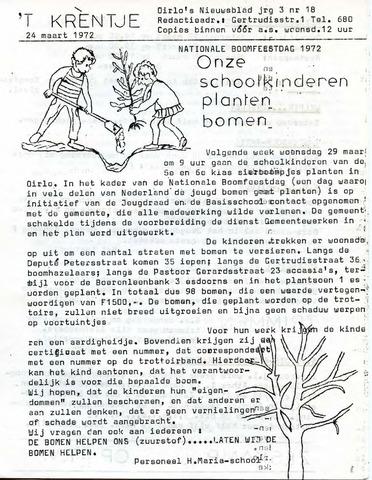 Oirlo's dorpsblad 't Krèntje 1972-03-24