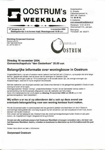 Oostrum's Weekblad 2004-11-04