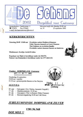 Castenrays dorpsblad De Schans 2002-09-25