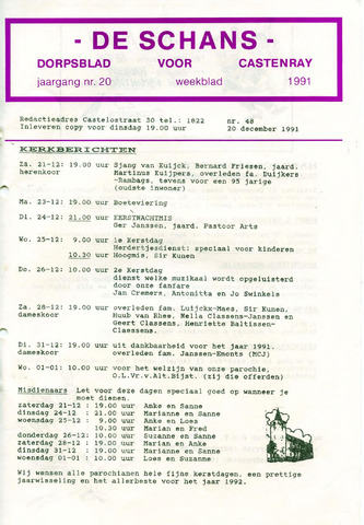 Castenrays dorpsblad De Schans 1991-12-20
