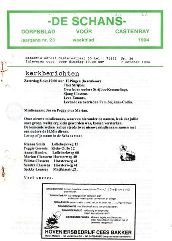 Castenrays dorpsblad De Schans 1994-10-07