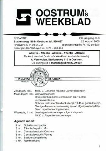 Oostrum's Weekblad 2000-02-22