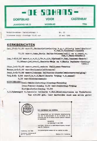 Castenrays dorpsblad De Schans 1986-05-30