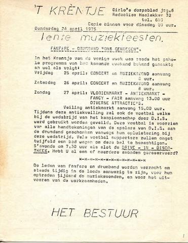 Oirlo's dorpsblad 't Krèntje 1975-04-24
