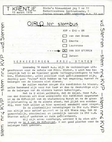 Oirlo's dorpsblad 't Krèntje 1970-03-13