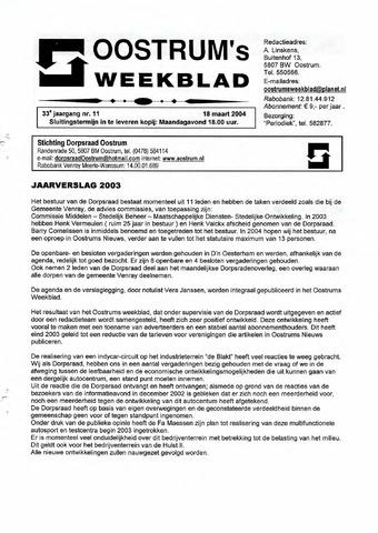 Oostrum's Weekblad 2004-03-18