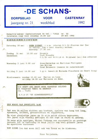 Castenrays dorpsblad De Schans 1992-05-29