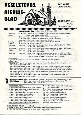 Ysselsteyns Nieuwsblad 1985-08-16