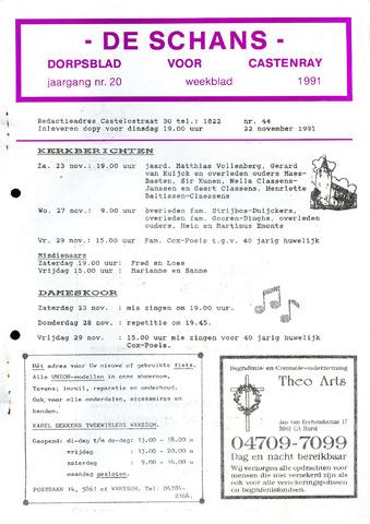 Castenrays dorpsblad De Schans 1991-11-22