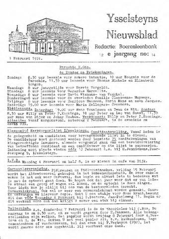 Ysselsteyns Nieuwsblad 1974-02-01