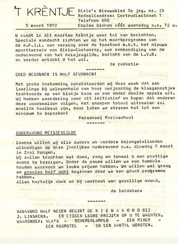 Oirlo's dorpsblad 't Krèntje 1972-03-03