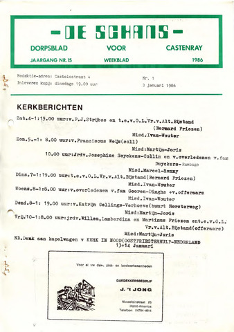 Castenrays dorpsblad De Schans 1986-01-03