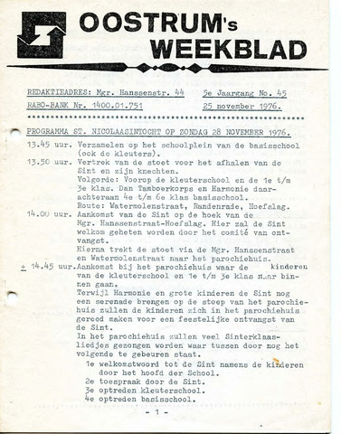 Oostrum's Weekblad 1976-11-25