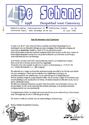 Castenrays dorpsblad De Schans 1998-07-16