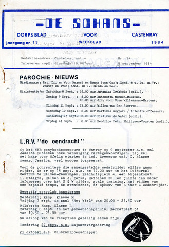 Castenrays dorpsblad De Schans 1984-09-08
