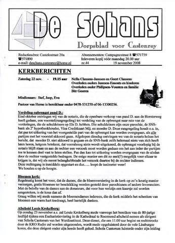 Castenrays dorpsblad De Schans 2008-11-19