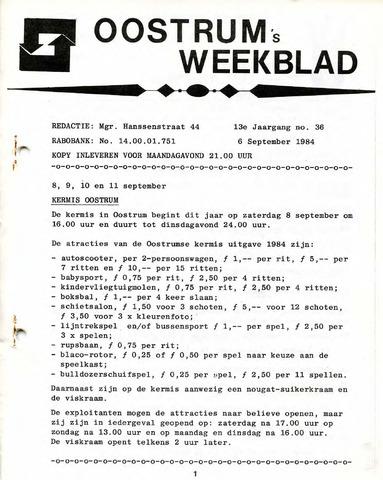 Oostrum's Weekblad 1984-09-06