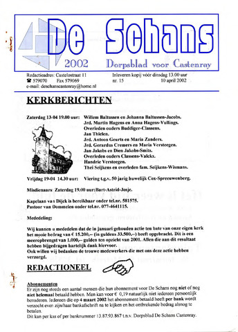 Castenrays dorpsblad De Schans 2002-04-10