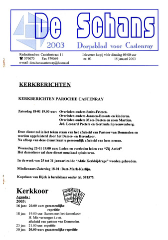 Castenrays dorpsblad De Schans 2003-01-15