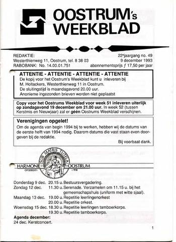 Oostrum's Weekblad 1993-12-09