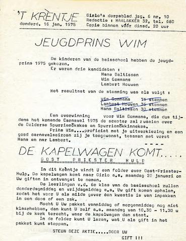 Oirlo's dorpsblad 't Krèntje 1975-01-16
