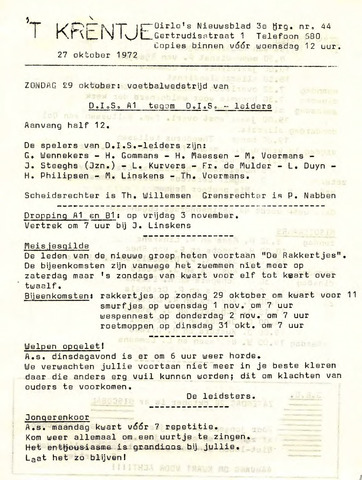 Oirlo's dorpsblad 't Krèntje 1972-10-27