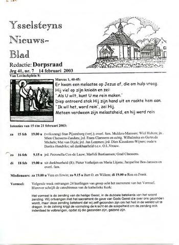 Ysselsteyns Nieuwsblad 2003-02-14