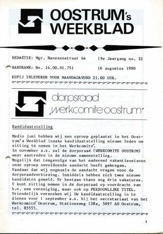 Oostrum's Weekblad 1990-08-16