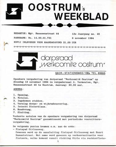 Oostrum's Weekblad 1984-11-08