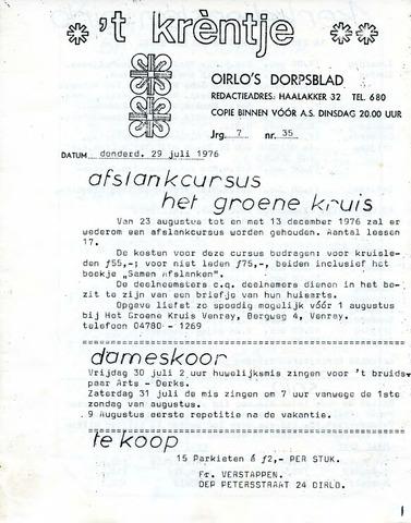 Oirlo's dorpsblad 't Krèntje 1976-07-29