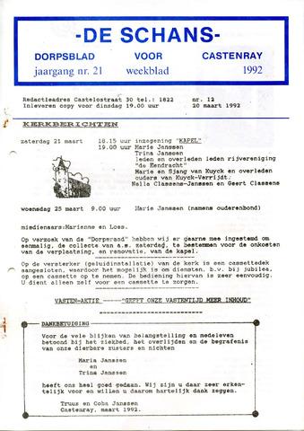 Castenrays dorpsblad De Schans 1992-03-20