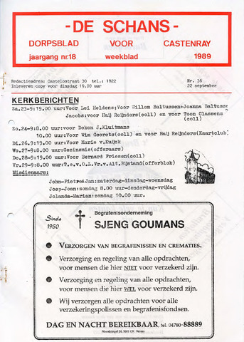 Castenrays dorpsblad De Schans 1989-09-22