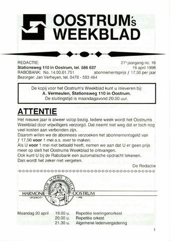 Oostrum's Weekblad 1998-04-16