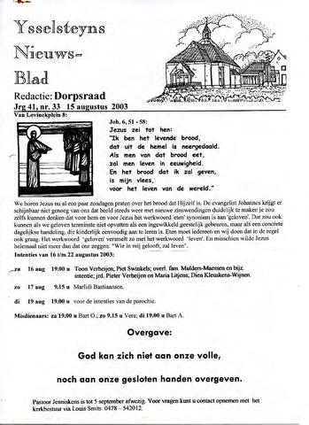 Ysselsteyns Nieuwsblad 2003-08-15