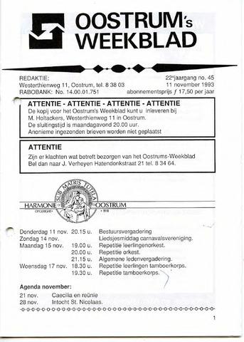 Oostrum's Weekblad 1993-11-11