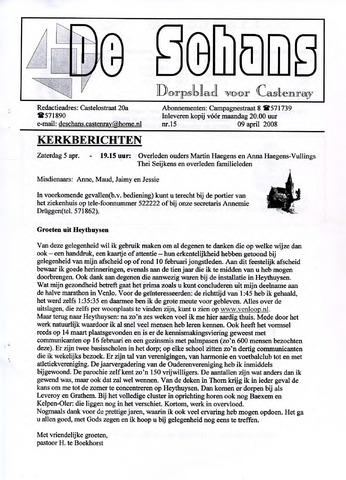Castenrays dorpsblad De Schans 2008-04-09