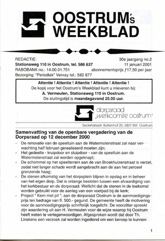 Oostrum's Weekblad 2001-01-11