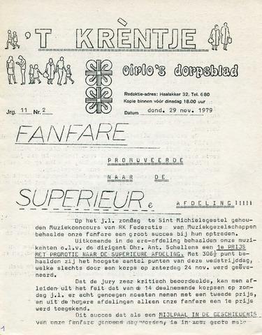 Oirlo's dorpsblad 't Krèntje 1979-11-29