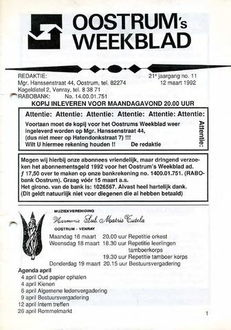 Oostrum's Weekblad 1992-03-12