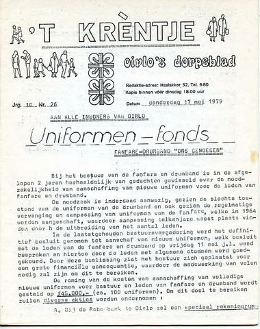 Oirlo's dorpsblad 't Krèntje 1979-05-17