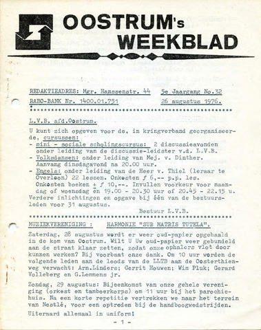 Oostrum's Weekblad 1976-08-26