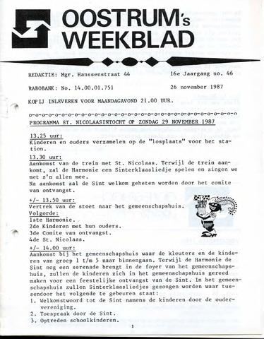 Oostrum's Weekblad 1987-11-26