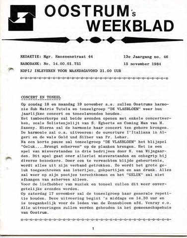 Oostrum's Weekblad 1984-11-15