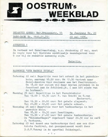 Oostrum's Weekblad 1976-05-20