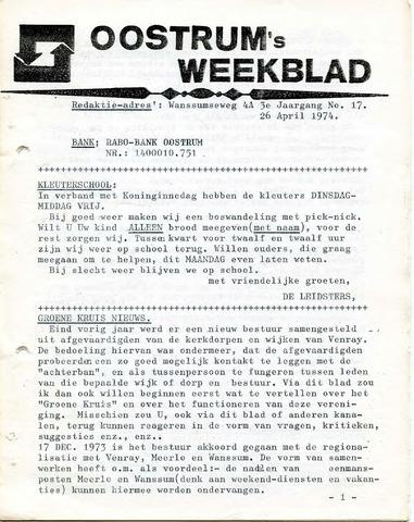 Oostrum's Weekblad 1974-04-26