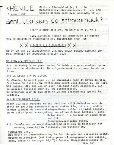 Oirlo's dorpsblad 't Krèntje 1971-03-05