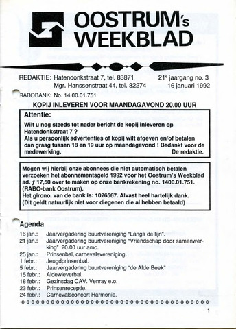 Oostrum's Weekblad 1992-01-16