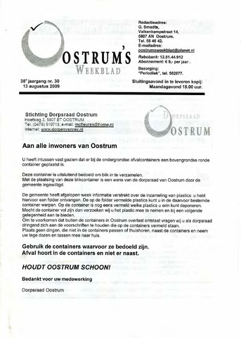 Oostrum's Weekblad 2009-08-13